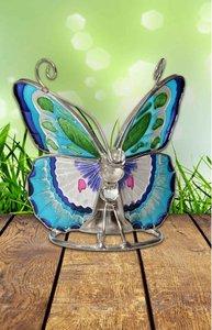 Vlinder waxine licht houder in blauw en groen met roze.