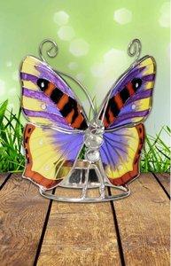 Bont gekleurde vlinder waxine licht houder.