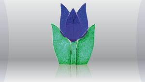 Tulp waxine kandelaar blauw