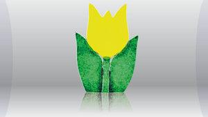 Tulp waxine kandelaar geel