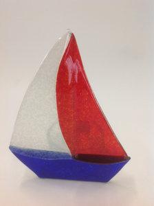 Zeilboot rood/wit/blauw