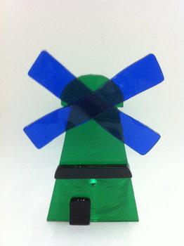 Waxlicht molen groen/blauw