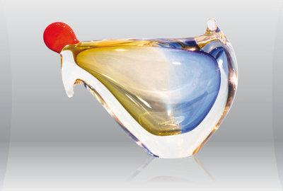 Kip omlaag blauw/goud