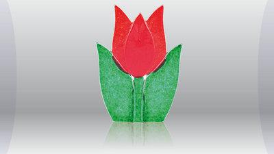 Tulp waxine kandelaar rood